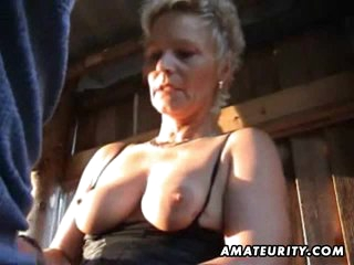 Mature amateur wife sucks and fucks outdoor with facial cumshot