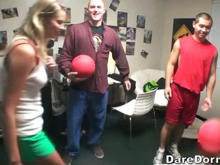 Attractive college ball playing dodgeball