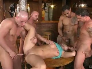 Mischel gets gangbanged at the bar
