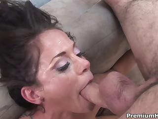Insane deepthroat action with busty brunette Savannah Stern