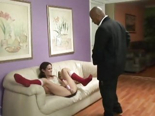 Amber Rayne takes a big black cock after masturbating