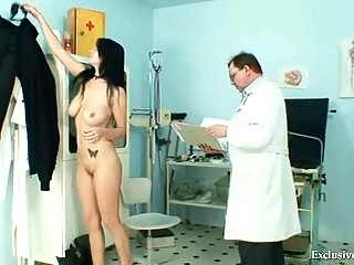Busty Adriana tits and pussy gyno exam at kinky clinic