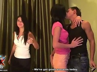 Facial cum shot for two hot brunettes