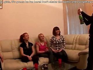 Drunken student gals join strip dancers