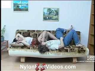 Rachel&Jerry amazing nylon feet action