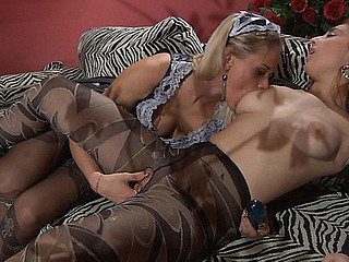 Horny mistress in patterned hose asks her maid for some lez treatment