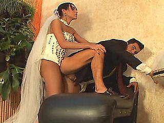 Shemale bride pumping the a-hole of her fiance right after wedding ceremony