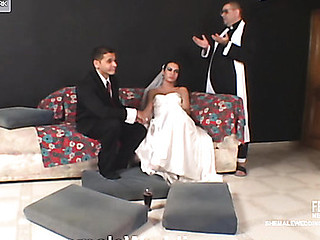 Desirous for anything shemale bride jumping on palpitating pecker like hell