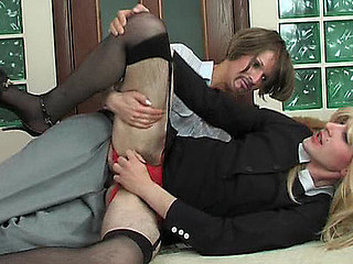 Freaky sissy guy prefers a female role in outrageously hawt strap-on bonking