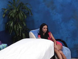 Dark Brown sweetheart from this action looks great in raiment and even more good when this babe stays nude. Watch how pal massages her wonderful well-tanned body with oil and stuffs her twat by his palpitating unyielding knob.