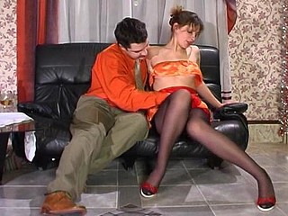 Steamy French maid in control top hose yielded to frenzied tongue-fucking