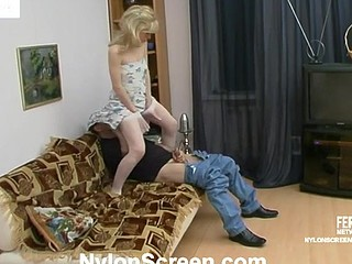 Temptress in white nylons riding on 10-Pounder till having cum all over her face