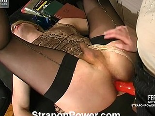 Sissy guy greeting strap-on armed chick with his open arse right in office