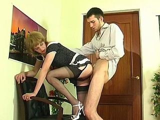 Upskirt gay sissy in soft nylons giving head and getting banged from behind