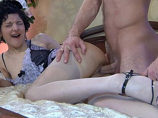 Curious upskirt maid in barely visible nylons gets punished with a fuck