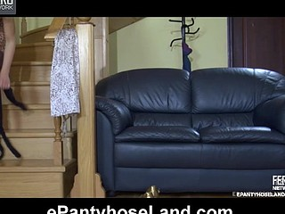 Stunning chick fitting on various silky hose right on a leather sofa