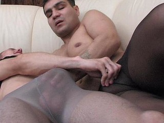Muscle gay guy in control top hose getting anally exploited on sofa