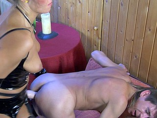 Desirous guy gets his taut butt whipped and plowed by a strap-on armed chick