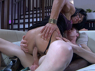 Seductive sissified hottie going down on a gay chap for some oral-anal fun
