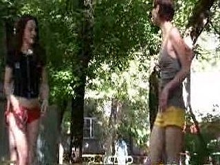 Outdoor shorts wetting by two sexy gals