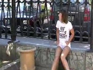 Outdoor urinate mess of a girlie in shorts