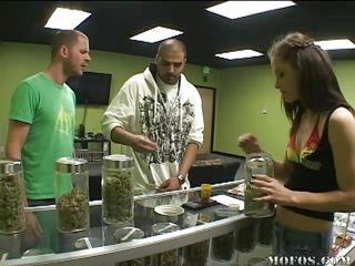 The guy in the green shirt wants to get high. Jessica tells him to go to the doc and get a card, but he comes back with a fake. He needs the weed so his gf will suck him better, but it's no-go. She makes him an offer: If she likes his cock, he gets the bud. Will he take the deal?