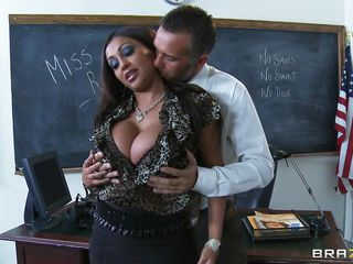 Watch this slutty teacher with huge boobs as she gets undressed by this guy in the classroom. He rubs and licks her breasts and then lays this indian slut on the desk giving her a hard fuck and a good spank, maybe some cum?  She was a very naughty teacher and now needs detention and a big hard cock between those juicy lips.
