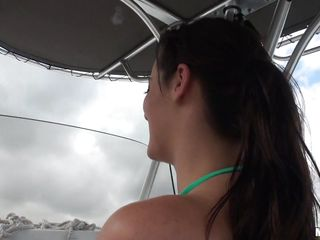 Tattooed honey Mandy Haze got to drive the boat and she's real happy about it. Her boyfriend is just looking at her ass, playing with her bikini and distracting her. They stop somewhere and he plays with her, then sits back as she plays with herself, putting on a show.