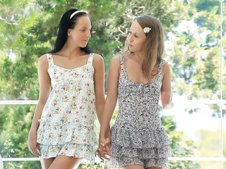 Two beautiful girls are holding hands and share the same hard penis. Seeing them how they get along it really makes your cock hard but when they start to undress and reveal their slim hot bodies, small natural tits and hot thighs it really makes it worth our time and attention so stick around with them.