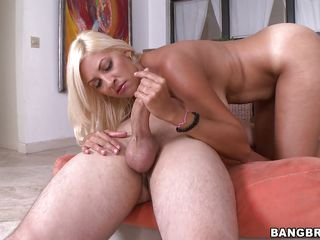 This slutty thirty years old blonde loves to have sex a lot more than a female normal does. Her big boobs bounce around as she does her job. This guy gets to fuck her between her big boobies. After that he gets a great blowjob and a nice handjob too. Makes me wonder if he will get some pussy after.
