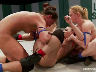 This wrestling match gives the whores a opportunity to fight and win. And as the prize, they get to fuck their opponents. Watch these chicks fighting naked to get that prize. They fight like wild jungle cats, grapple and lock the opponent to get points by groping tits or fingering pussies!
