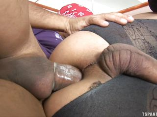 Shemale is fucked hard by a guy with big dick. Shemale is lying on the big sofa and the guy penetrates his cock in her ass from behind. Then shemale gets her ass drilled hard from front, the man fucked her hard and then spilled his cum over shemale's ass.