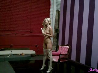 Here's Aaliyah, a sexy blonde babe with hot legs, nice tits and a pretty face that asks for a few slaps. She's getting her sweet body no film as the guy shoots her and as long as she's there why not go a little crazy, fooling around with one of her sex toys. What is she going to do with that vibrator, is she going to stick it..