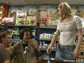 Teen Lexi Belle, working in a pet store that doesn't pay much and having to rely on perverts just to get her commission. Another guy comes in and runs off the dorks, leaving her with no commission for the day and nothing to do. He has to make it up to her by keeping her company. What to do though?