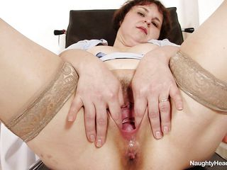 This fat but sexy grandma is a nurse that is horny so she is playing with her pussy at work. She have a nice vagina and good licking clitoris. Her tits are big and her vagina is very deep and perfect for a hard fuck. She start licking a dildo and after that she introduce it in her nice vagina.