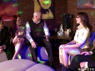 Misty gets the credit for a job's finish by the guys. Dana objects, saying it's because Misty is a tease and they won't like her when they find out. Misty shows her ass, getting cheers, and Dana grabs her and spanks her. She gets a dildo out and the guys run, leaving Misty to get fucked by Dana.