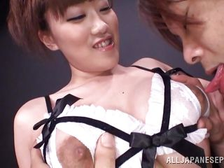 Japanese slut Rin is always happy to give her big boobs for a man to lick on. She allows the guy to enjoy her breasts and smiles as he goes wild with them. This horny milf does it for us in front of the camera so why not give her something in return like our attention. Stay with her and enjoy those big boobs