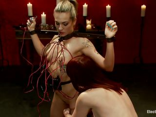 Skinny blonde babe is tied up by mature brown haired woman. Maitresse Maideline enjoys hanging electrodes over Bailey Blue's small tits and her nice trimmed pussy, beating her with a red stick on her legs. She waits eagerly with her mouth open and her tongue sticking out to gag on Mark Wood's white cock.