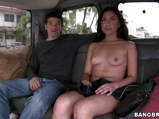 Issa Rose is a hot brunette milf with big natural tits and a round latina ass. She gets picked up on the street and hops in that bang bus. It is amazing what girls would do for money. She is very horny when she joins that naked man on the bench. When that guy shows her the cash she takes her clothes off.