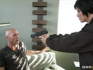 Watch this FBI slut with short brunette hair, huge firm tits and pretty face getting her boobs sucked and licked by this bald guy. She is a horny milf and needs his cock deep inside her ass. Watch her as she sucks his dick and swallows all his semen.