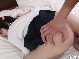 Mao Miyazaki bends over so she can be fucked like the slutty, whore schoolgirl she is. She hikes up her skirt and gets banged while lying on her back. She gets a nice creampie and then gets fingered.