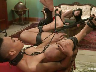 Hot bitch Nikky is tied up with her legs spread and is waiting for some extreme pleasure on a billiard table. Nikki watches how Juliette gets strangulated and fucked at the same time. Then, she gets her pussy spanked for being such a naughty girl. It`s time for her to be fucked and to lick Juliette`s wet cunt