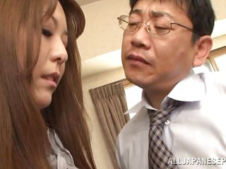 She entered her bosses office with obedience, wishing for his attention and got it, only that she received another kind of attention from him. He grabbed her by the hair and mouth fucked her deep. The milf obeyed and sucked his cock like a slut. Does she deserves a raise or at least a day off for that blowjob?