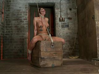 Watch this sexy whore, her name is Aleska and those pair of perfect boobs surely got your attention and her executor's too. She has clamps with weights on her hard nipples and is tied up hard and suffocated slowly as the rope around her neck doesn't gets looser. Aleska stays there, immobilized in that position and endures her..