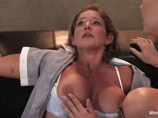 Felony is a brown haired woman with a nice ass and big tits. She has been handcuffed to the sofa, and her legs had been tied. Watch Maitresse Madeline having fun with her gorgeous body. This mature woman knows how to treat her former boss. She attaches a chained clip on her nipples and starts to pull it hard.