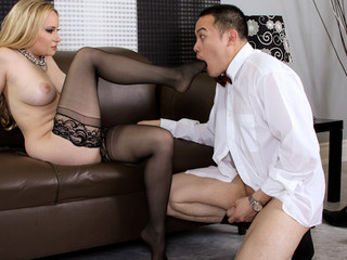 Blond dominatrix Aiden using Oriental guy as personal sex toy