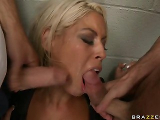 Blonde Prison Guard Gets a Rough Double Penetration By Two Inmates