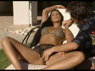 Smoking Brunette Gets A Hardcore Fuck Outdoors On A Beach Chair