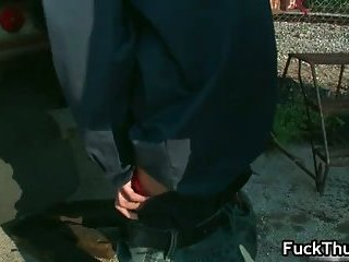 Thug gets fucked up the anus outdoors