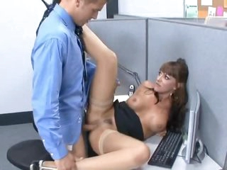 Brunette in the office likes hard cock